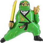 Шар (32''/81 см) Фигура, Ниндзя, Зеленый, 1 шт.